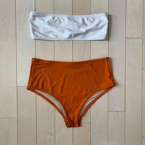 CATTINA Bandeau Bikini Top & High Waist Bottoms